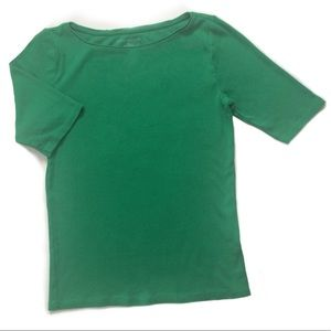 Ann Taylor Women Cotton Tee Top Short Sleeve Green